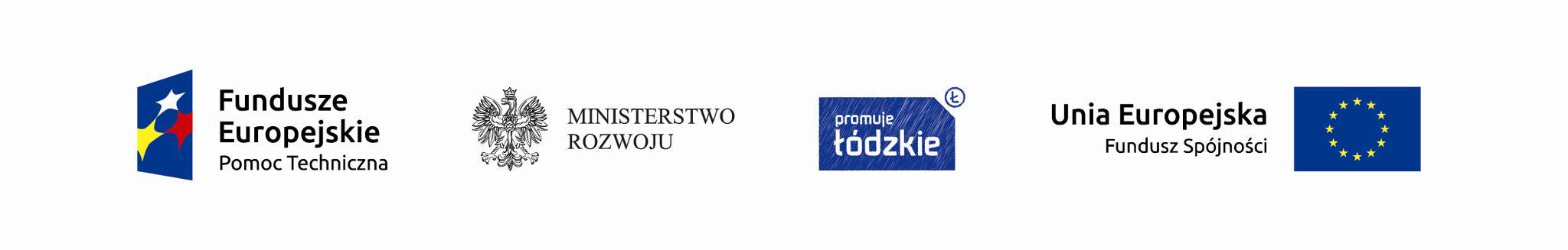 logo Fundusze Europejskie Pomoc Techniczna, Ministerstwo Rozwoju, Promuje Łódzkie, Unia Europejska Fundusz Spójności