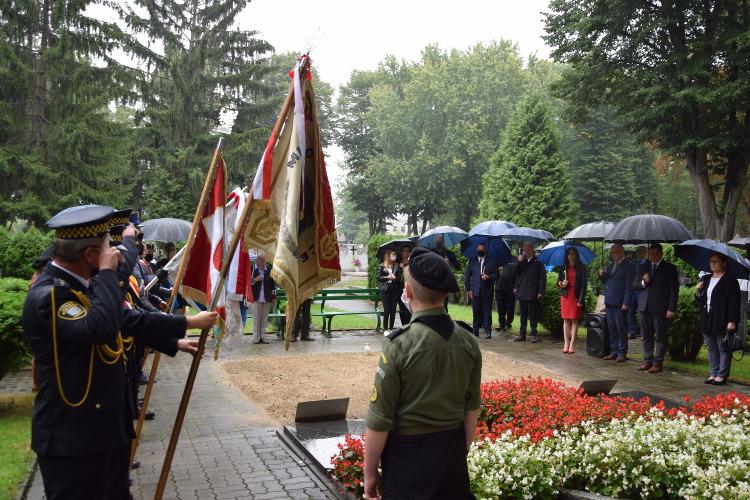 poczty sztandarowe, samorządowcy miasta i powiatu oraz delegacje stojące przed pomnikiem
