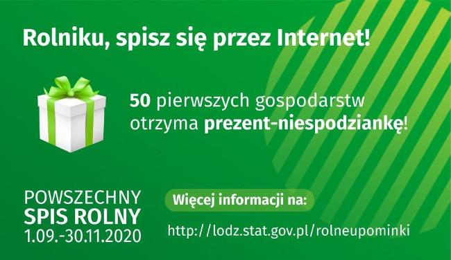 plakat informacyjny z wizerunkiem prezentu na zielonym tle
