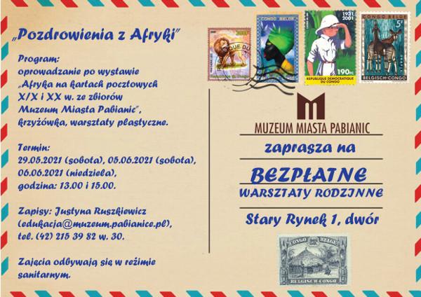 kartka pocztowa z kolorowymi znaczkami, stemplami pocztowymi i niebieskimtekstem