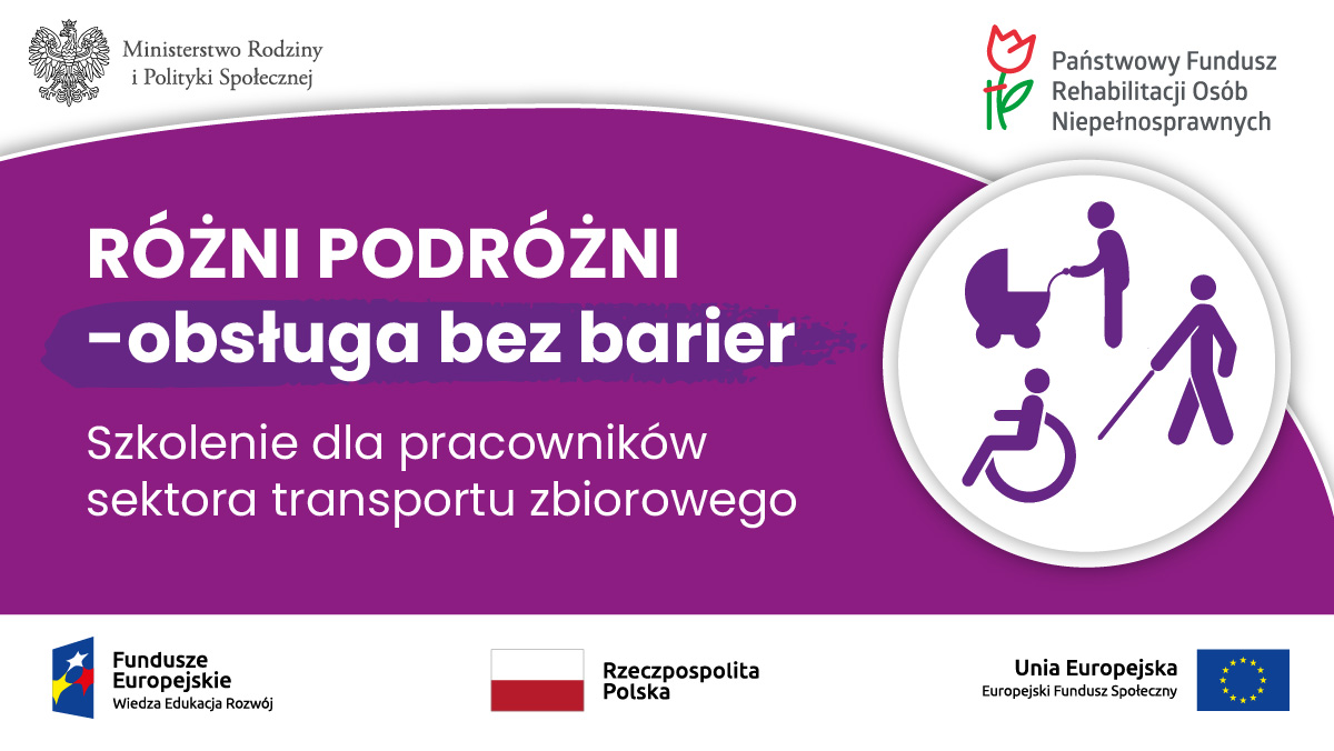 fioletowy baner informacyjny