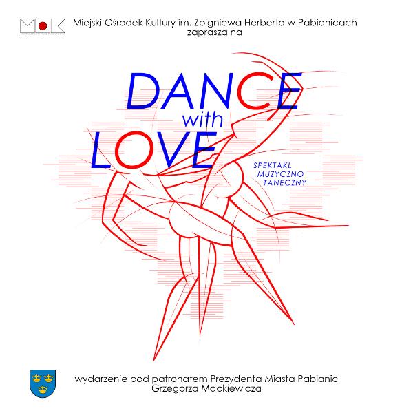 niebieski napis Dance with love na tle czerwonych konturów tańczącej pary ludzi