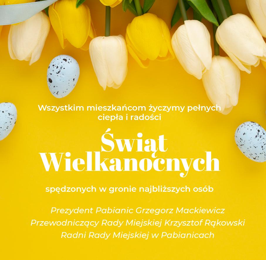 życzenia na tle żółtych tulipanów
