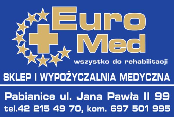 logotyp EuroMed sklep i wypożyczalnia Medyczna, Pabianice ul. Jana Pawła II 99, telefon 42 215 49 70, 697501995