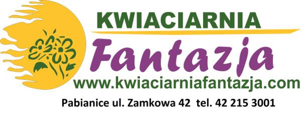 logotyp Kwiaciarnia Fantazja, Pabianice ul. Zamkowa 42 telefon 42 215 30 01
