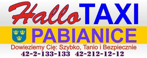 logotyp Hallo Taxi Pabianice telefon 42 213 31 33